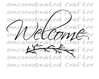Rustic Welcome svg// welcome tree limb svg