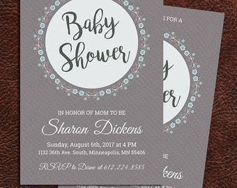 Baby Shower Invitation, Boy Baby Shower Invitation, Baby Shower Invitation for a Boy, Baby Shower, Invitation, Customizable