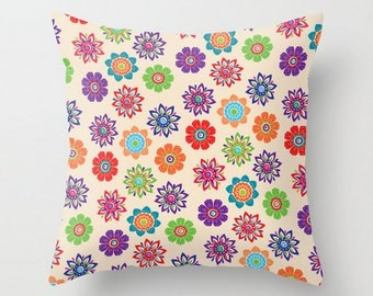 Colorful Flowers Cushion, Floral Throw Pillow Cover, Bright Decorative Pillow Case, 16x16 18x18 20x20, Green Purple Cushion, Toss Pillow