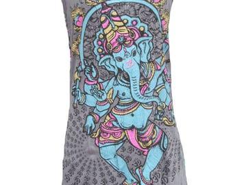 SALE 20% off and Free Gift !!! ** Women's Tank Top Mini Dress Hindu Buddha Statue Ganesh Grey Tank Top