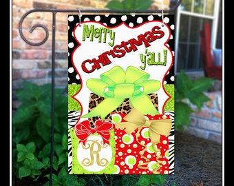 Christmas Garden Flag, Leopard Garden Flag, Whimsical Holiday Garden Flag,  Initial Garden Flag