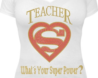 Rhinestone Teacher Superpower
