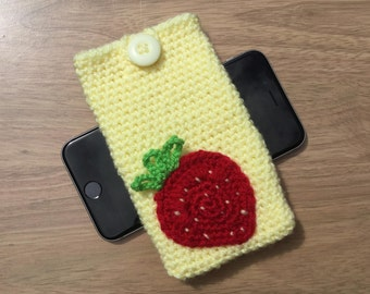 Phone case with earbuds pocket, yellow phone cover with strawberry motif pocket, iPhone 6 case, iPhone 6s cover, iPhone 7 sleeve
