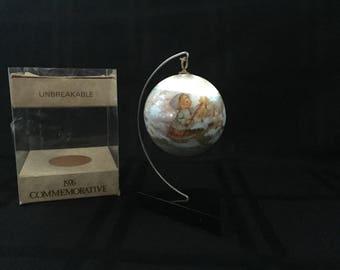 1976 Commemorative Hallmark Unbreakable Satin Wrapped Ball Christmas Ornament with Box Mary Hamilton Charmer