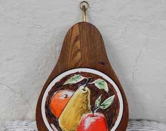 Fred Press Wooden Pear Shaped Cheese Cutting Board, Ceramic Tile Trivet Tray, Apple Pear Orange, Sere Wood Brass stem hanger RascalsRarities