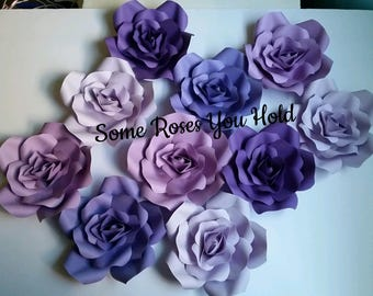 Purple Paper Flower Backdrop,10 Paper Flowers Set,Paper Flowers Wall Decor,Baby Shower Decoration,Paper Roses,Party,Wedding,Nursery Wall Art