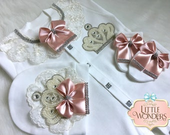Infant Baby Girl Pink Lace  Romper Onesie Jeweled Crown Layette Hat Gloves Set