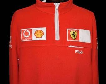 Vintage Ferrari Warm Up Sweatshirt, Quarter Zip Fila Fleece Pullover, Hip Hop, Size XXL to XXXL, 2XL to 3XL