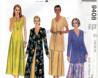 McCalls 9408 Misses' sewing pattern Sleeveless princess seamed dress, duster, jacket Size 10-14