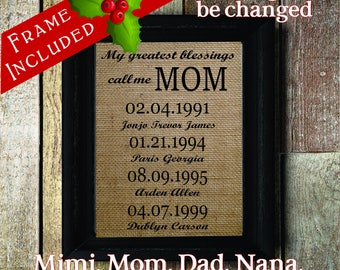 Mom's gift from Daughter or Son | Personalized Christmas Gift | Up to 5 sets of names | Mothers Day Family Tree | Family Dates (mom320a)