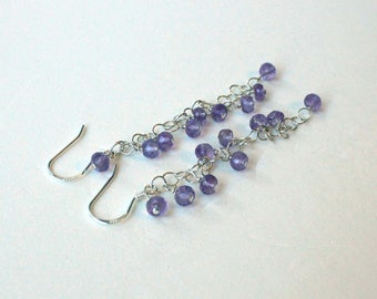 Amethyst and sterling silver purple casual dangle earrings - Lilly