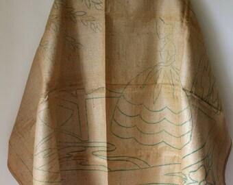 Vintage rug making canvas/ hookhessian rug making pattern/ 1970s craft supply/ vintage craft supply/ printed canvas