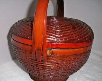 vintage asian basket, woven asian basket with handle, Chinese splint weaving