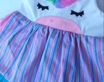 Unicorn dress unicorn birthday dress apron dress