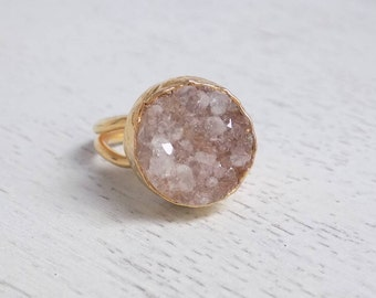 Druzy Ring, Crystal Ring, Champagne Druzy Ring, Large Gemstone Ring, Bohemian Jewelry, Statement Ring, Drusy Ring, Christmas Gift, D3-02