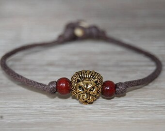 Lion Head Bracelet,Cord Men's Bracelet,Rasta Bracelet, Bronze Lion Bracelet,Man,Yoga,Protection,Meditation