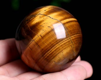 Natural Tiger's Eye Quartz Crystal Sphere Ball Great Shine Healing J957