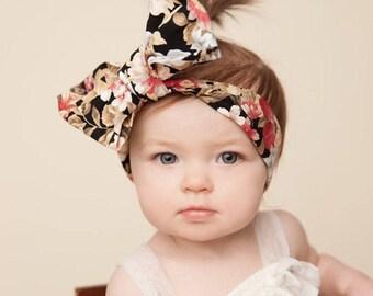 TWILIGHT FLORAL Gorgeous Wrap- headwrap; fabric head wrap; floral head wrap; boho; newborn headband; baby headband; toddler headband