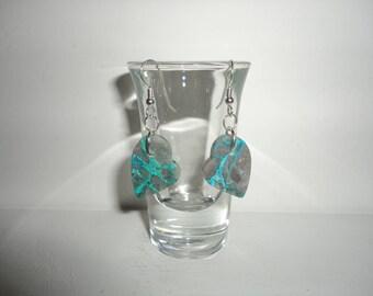 Shattuckite Heart, Sterling Silver Dangle Wire Earrings