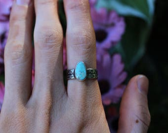 Sterling Silver Royston Turquoise Stacking Ring // Size 6.75