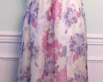 Vintage Gown Emma Domb Dress Orchid Floral Chiffon