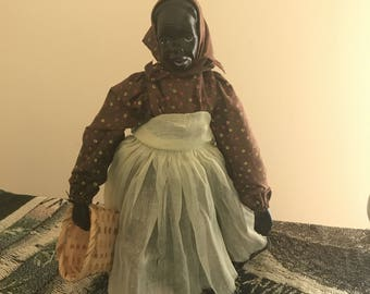 Vintage Black Americana Doll Handmade Basket Weaver Doll