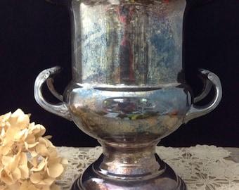 Champagne Bucket Ice Bucket Silver Urn Large Silver Vase Silver Planter Shabby Chic Wedding Decor