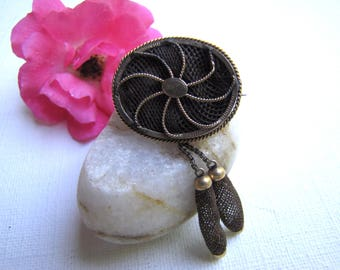 Hair Jewelry, Mourning Hair Brooch, Victorian Hairwork Pin, Hairwork Jewelry, Hair Jewelry, Pinwheel Design, Mourning Jewelry, Hair Brooch,