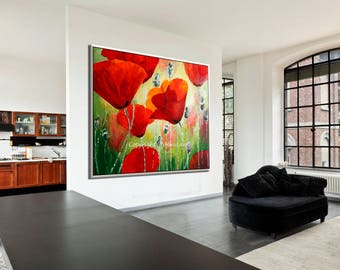 Oil Painting Flowers, Red Wall Decor, Decorative Art Red Painting, Oil Flower Painting, Extra large art flower art Decorative painting