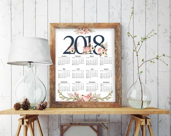 Wall Calendar 2018, Floral Calendar, Printable Calendar 2018, 2018 Calendar, Large Calendar, Yearly Calendar, Kitchen Calendar, Planner 7021