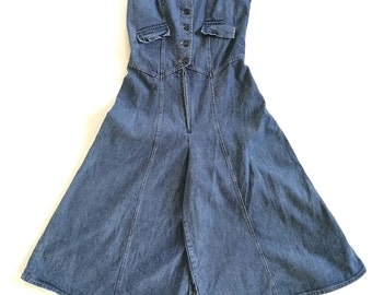 Vintage 1970s Miss Lizz denim culottes romper/jumpsuit