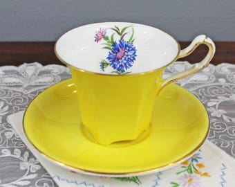 Vintage Salisbury Yellow Corset English Bone China Teacup and Saucer with Blue Floral Inlay, Wedding Tea Party Favor
