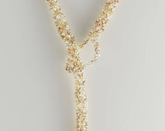 Champagne Beaded Woven Lariat Necklace