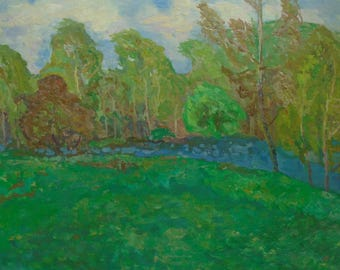 IMPRESSIONIST ART VINTAGE Original Oil Painting by V. Gaiduk 1970s, Signed, Waterscape, River, Lake, Soviet Ukrainian Fine Art, High Quality