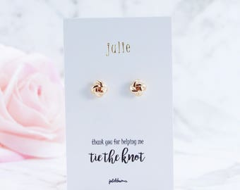 Rose Gold, Tie the Knot, Knot Earrings, Bridesmaid Gift, Be My Bridesmaid, Bridal Party, Bridesmaid Proposal, Maid of Honour, Flower Girl