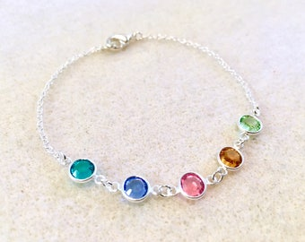 Personalized birthstone bracelet or anklet mothers bracelets birthstone gifts mothers jewelry minimalist dainty bracelet family bracelet