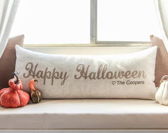 happy halloween pillow personalized halloween pillow halloween decor halloween decorations insert included - Personalized Halloween Decorations