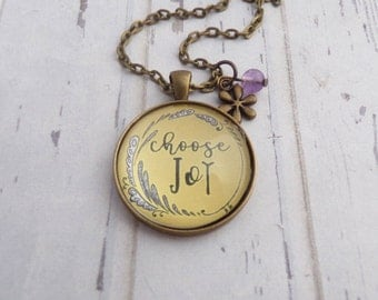 Choose Joy Necklace, Bronze Pendant with Chain, Encouragement, Inspirational, Quote, Christian Jewelry,  Bible Study Gift