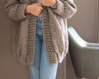 Oversized Chunky Knit Sweater/ Sweater Cardigan/ Mauve cardigan/ Oversized Knit Cardigan/ Big Knits/ Loose Knit Cardigan/ Cozy Knit Sweater