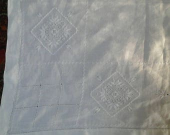 Hand embroidered linen square tablecloth / vintage / French / handmade / square linen tablecloth / natural fabric