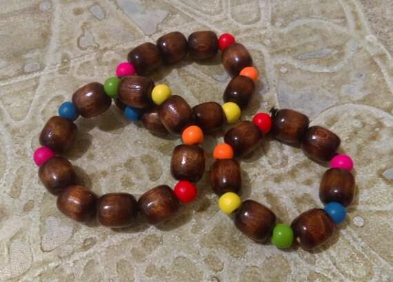 Rainbow Wood Bead Stretch Bracelet Chunky Dark Brown Beads Red Yellow Green Blue Pink Rainbow Pride