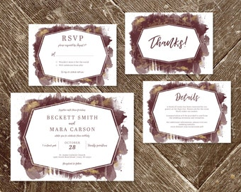 Gold And Maroon Watercolor Wedding Invitation Set Invite Template Printable Burgundy Fall