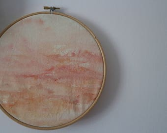 Unique watercolour sunset painting in embroidery hoop