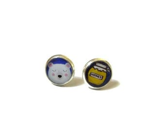 BEAR EARRINGS - animal earrings - kid earrings - gift for girls - Kids Jewelry, funny earrings, kawaii earrings, Little girl earrings
