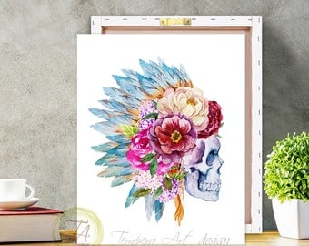 Skull Print, Tribal Skull, Skull Wall Art, Skull Decor, Sugar Skull Decor, Skull Art Print, Skull Illustration, Sugar Skull, Tribal Print