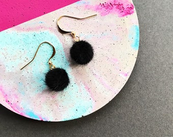 Mini Black Pom Pom Earrings, Pom Pom Earrings, Hook Earrings, Small Pom Pom Earrings, Fluffy Earrings, Statement Earrings, Gifts For Her