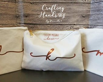 Initial Bridesmaid Makeup Bags, Secret message, NATURAL COTTON makeup bags, Monogram cosmetic bags, personalized gift,  bridesmaid gift
