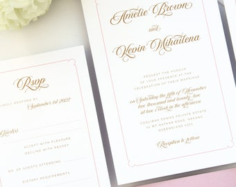 Paris Gold and Pink Blush Wedding Invitation Set, Elegant Wedding Stationery, Wedding Invitation Set Templates or Printed Invitation Kits