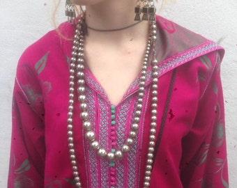 Long metallic beaded necklace original 1980s