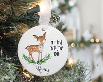 Baby Boy Ornament- Babys First Christmas Ornament- First Christmas Ornament- Baby Deer Ornament- Custom Ornament- My First Christmas